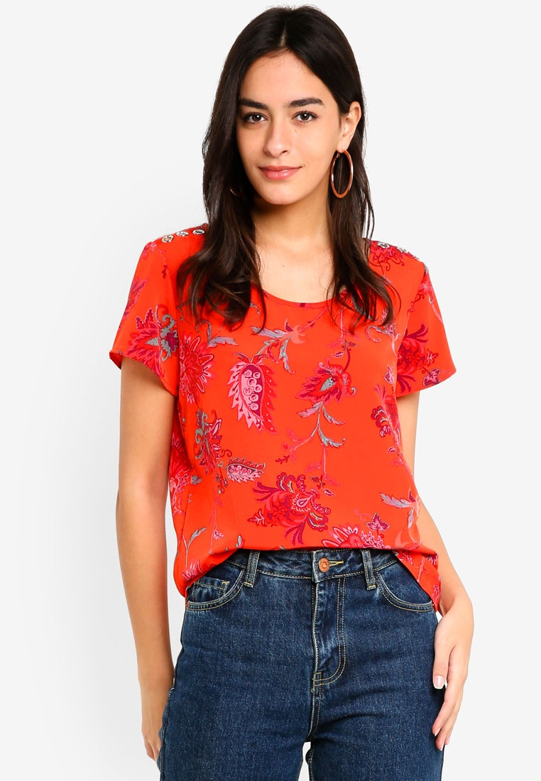 Celine Fiery First Paisley Top Aop ONLY Red 8aRxqnqw