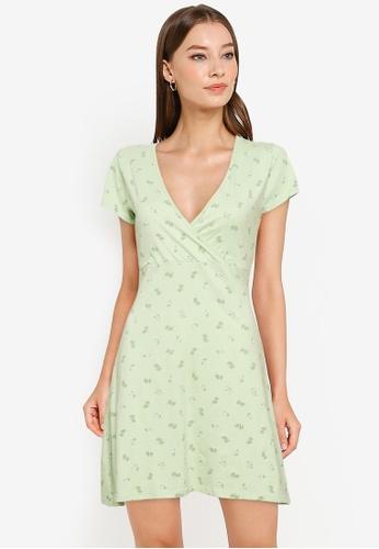 Cotton On green Bessie Cross Over Mini Dress 7C88BAA15ACB77GS_1