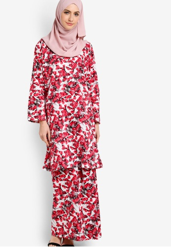 Azka Collection red English Cotton Baju Kurung AZ019AA46LAVMY_1