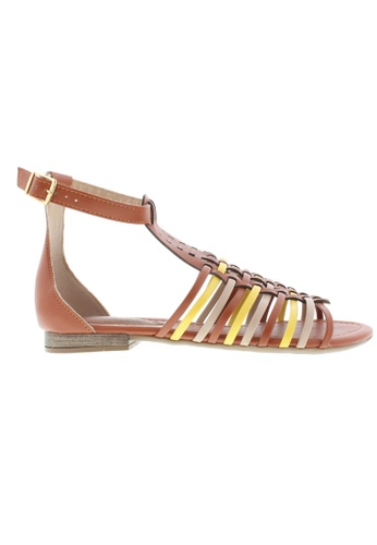 Beira Rio beige and gold and brown Flat Sandals With Ankle Details BE995SH67ZUQHK_1