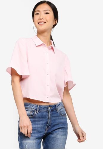 ZALORA BASICS pink Basic Flutter Sleeves Blouse 158EBAAD3407BDGS_1