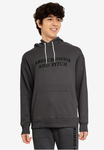 Abercrombie & Fitch black Print Pullover Hoodie D0E55AAD4CC14AGS_1