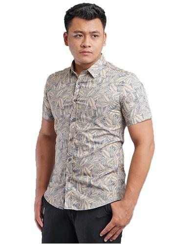UA BOUTIQUE grey Short Sleeve Shirt Batik SSB119-061 (Grey) A424FAA3BBC2ACGS_1