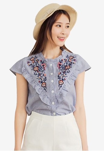 Eyescream blue Embroidery V Front Blouse 8ED33AA83FAB0DGS_1
