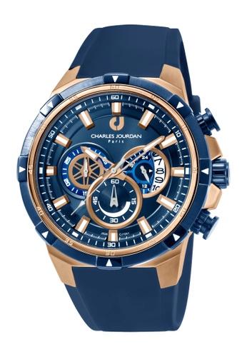 Charles Jourdan blue Charles Jourdan Men CJ1041-1582C Blue Silicone Watch 2AE4CACBCCFFB4GS_1