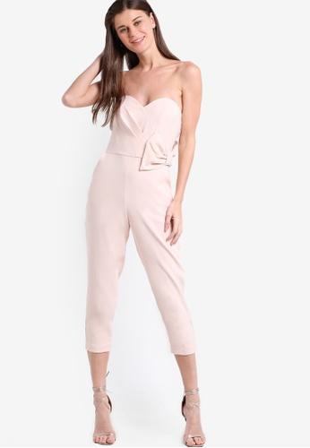 Miss Selfridge pink Petite Bow Side Jumpsuit MI665AA81SMSMY_1