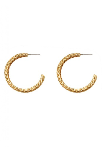 SKEDA gold Gold Braided Hoop Earrings 73DEBAC909859EGS_1