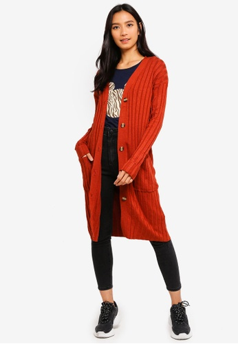 Cotton On red Quinnie Buttoned Longline Cardi 0D663AA09C45E1GS_1