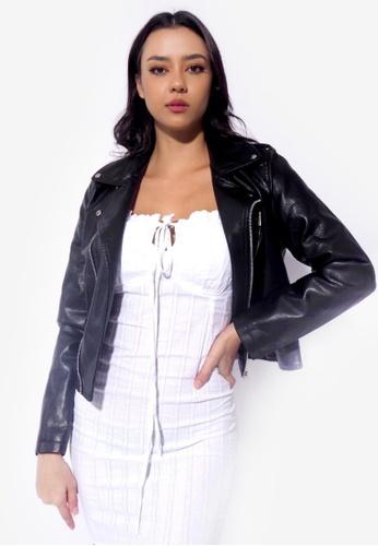 RFLCTVE black Biker Pu Leather Jacket 29513AAA0B7E3EGS_1