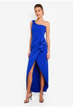 813030144962 Goddiva blue One Shoulder Maxi Dress With Frill Pleats C7672AAC828607GS_1