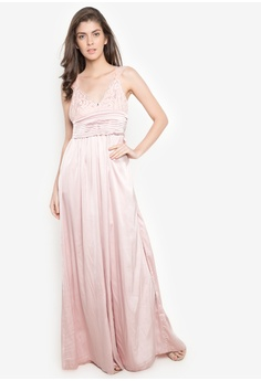 Fashion Fanatix pink Champagne Rosé Satin Lace Maxi Dress 94D36AA9236981GS_1