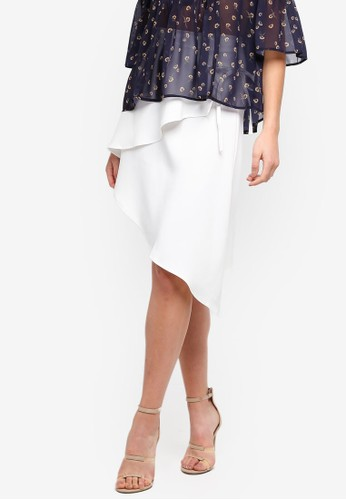 Lavish Alice white Asymmetric Wrap Skirt DDAB6AA4BDC930GS_1