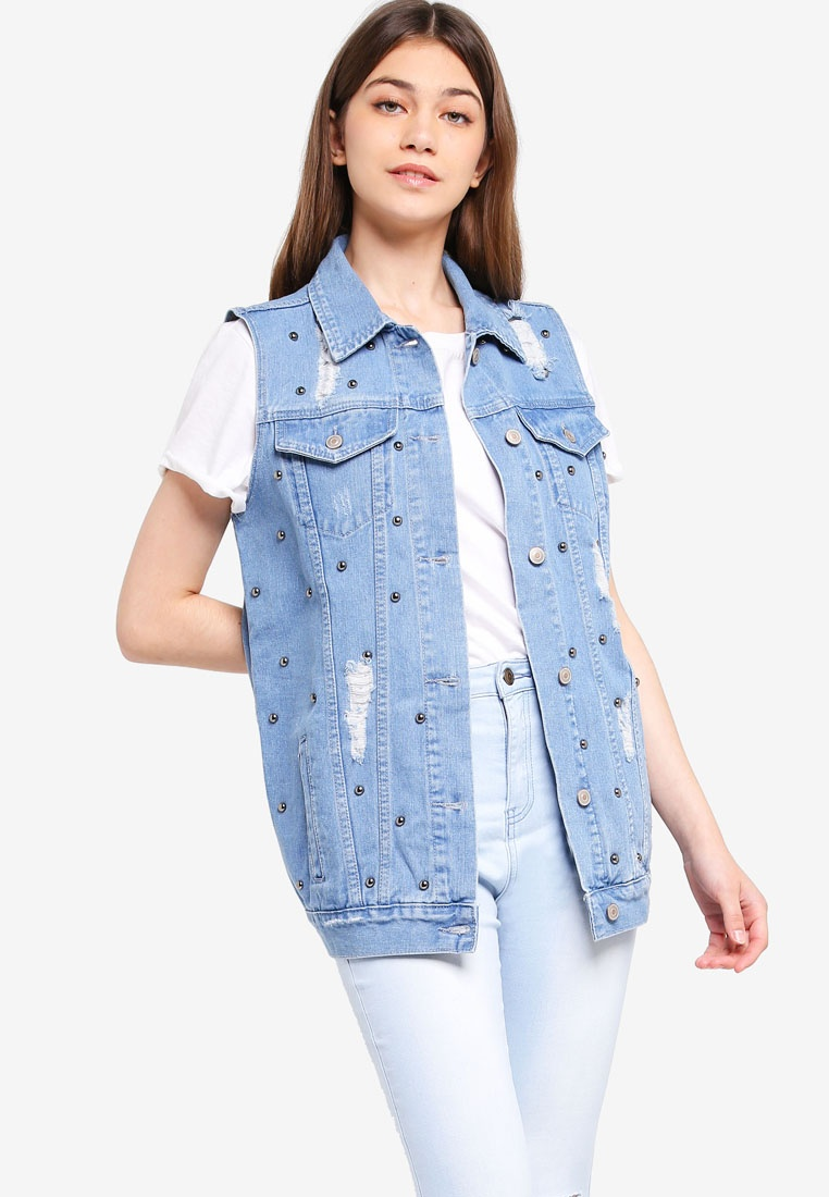 Borrowed Blue Studded Mid Light Something Denim Long Vest adq6dZvw