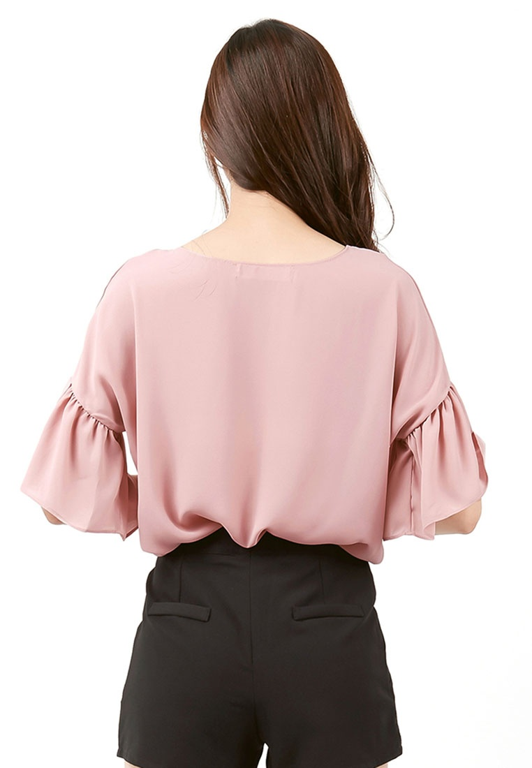 Sleeves Ruffled Pink Sleeves Pink Kodz Blouse Blouse Kodz Ruffled Kodz xfYq0wSU