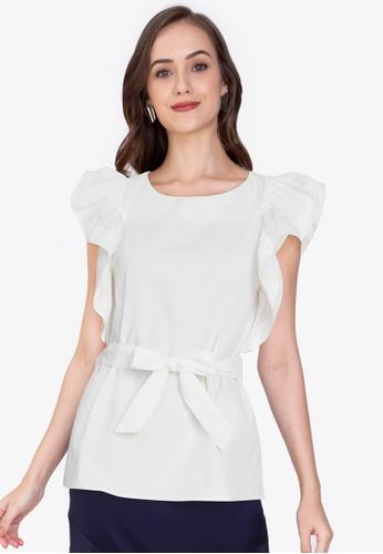 ZALORA WORK white Ruffle Sleeves Top A7DC4AA299FBB6GS_1