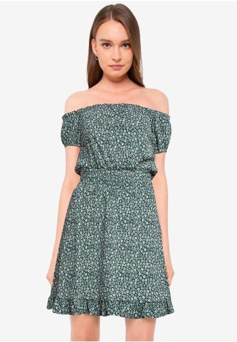 Miss Selfridge green Petite Green Ditsy Gypsy Dress B3AC6AAEE4FB0FGS_1