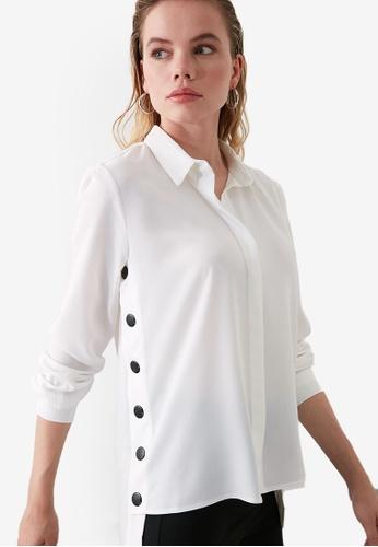 Trendyol white Snap Button Detail Shirt 24192AA429B5A0GS_1