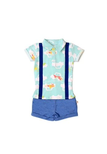 OETEO white and green and multi Road Trip Easyeo Suspenders Romper Shorts (Green) B2D58KAD7A9CE7GS_1