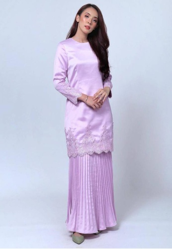 Emanuel Femme purple and silver Femme Luxurious Lace Kurung BB9FEAA7463F27GS_1