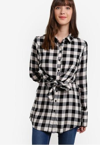 WAREHOUSE black Gingham Tie Front Shirt WA653AA54ZXDMY_1