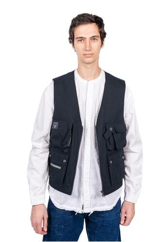 East Pole black Men's 14 Pockets Fishing Vest 61D84AA5726F3DGS_1
