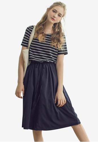 Eyescream navy Stripe Drawstring Relax Midi Dress 61D43AA497D9D9GS_1