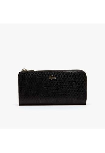 Lacoste black Lacoste Women's Chantaco Piqué Leather 8 Card Zip Wallet NF2071CE 70F4CAC5D83EB7GS_1