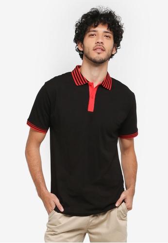 Fidelio black Sleeves Casual Polo Shirt 8B73EAA4672FDFGS_1