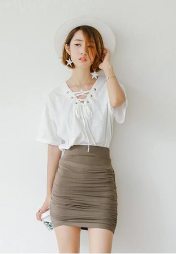 Shopsfashion brown Pleatead Bodycon Skirt in Brown SH656AA25ALISG_1