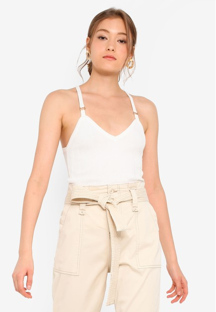 f7dea1a66e Buy TOPSHOP Ivory Knitted Ring Detail Cami Top | ZALORA HK