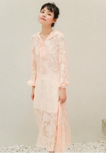 Shopsfashion orange See Through Hoodies Midi Dress in Peach 94D3EAADB16D9BGS_1