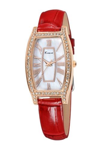 Eyki red Eyki Kimio KW516 Retro Style Ladies Leather Strap Rhinestone(Rosegold Red) EY078AC51MHSMY_1