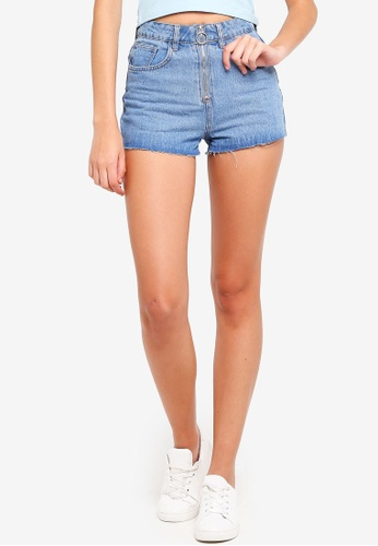 Factorie blue Zip Mom Shorts 0109CAA1F78125GS_1