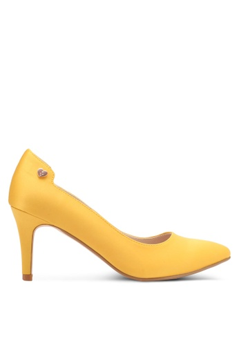 Velvet yellow Heel with Embellishment 659C6SH8C2454FGS_1