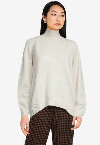 LOWRYS FARM white Oversized Knit Pullover Sweater E224CAAD7958A0GS_1