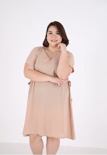 Sorabel brown Hazsa Plain Ribbon Mini Dress Big Size Brown B39FEAAF7B2610GS_1