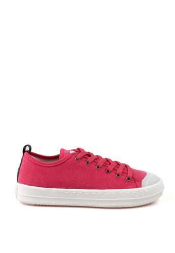 J.DAUL 紅色 經典厚底真皮帆布休閒鞋 JD556SH09Q53TW_1