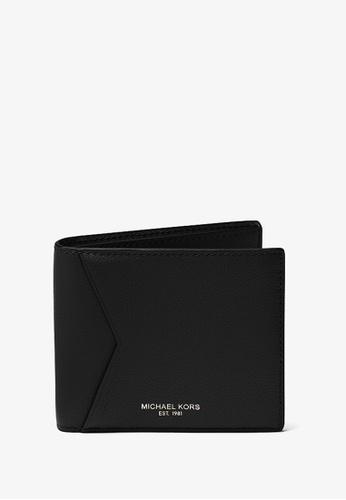 Michael Kors black Michael Kors Bryant Pebbled Leather Billfold Wallet - Black 92DF8ACF781504GS_1