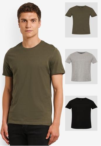 Burton Menswear London black and grey and green and multi Black/Grey/Khaki Basic T-Shirt Pack BU964AA0ROB1MY_1