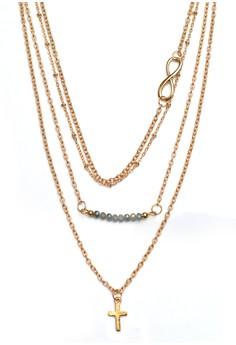 Infinity Bead Cross 4 Layer Necklace