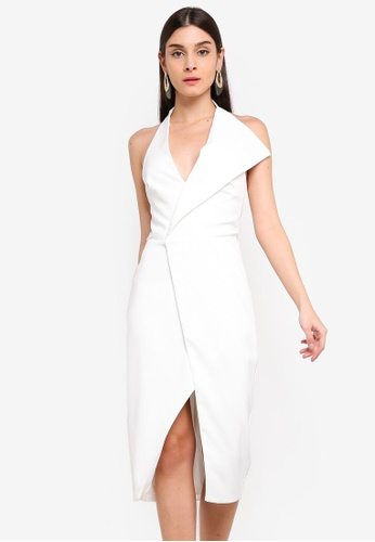 Lavish Alice white Oversized Collar Halter Midi Dress A1DE1AA81910E5GS_1