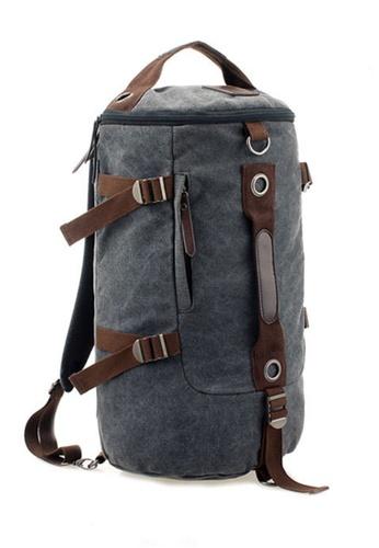 Jackbox grey XBD Cylinder Canvas Bag Shoulder Messenger Sling Handbag Backpack (Grey) JA762AC37SNQMY_1