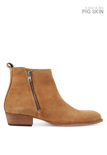 Topman brown South Zip Boots TO413SH0T1JDMY_1