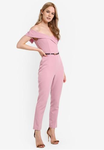 Miss Selfridge pink Dusty Pink Bardot Belt Jumpsuit MI665AA62UMJMY_1