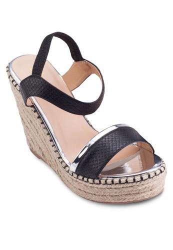 麻esprit 香港 outlet編楔型跟涼鞋, 女鞋, 鞋