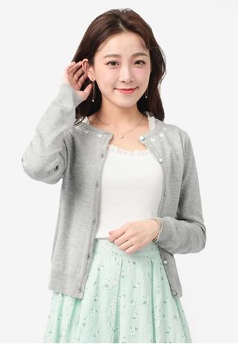 YOCO grey Cardigan with Floral & Pearl Detail F3B8CAAB278A95GS_1