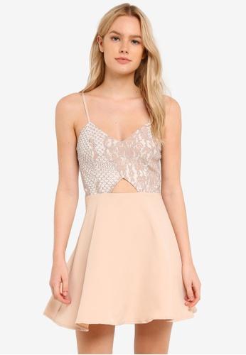 MISSGUIDED beige Nude Lace Skater Dress MI511AA0RK9DMY_1