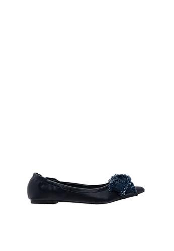 SEMBONIA blue Women Synthetic Leather + Denim Ballet Flat 7DEB0SH3749B5DGS_1