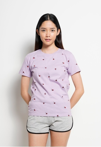Fave purple Short Sleeve Graphic Tee 34192AA53CF842GS_1
