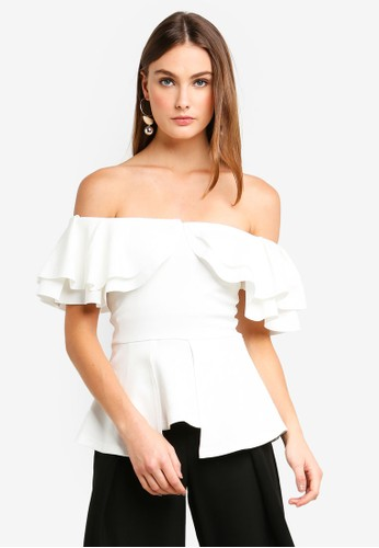 bYSI white Frill Shoulder Peplum Top 55A70AA4CCC6C8GS_1
